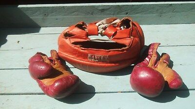 Vintage Title Red Leather Boxing Gloves & Headgear,Childs 3oz ,As Seen so small