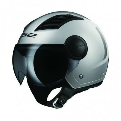 LS2 Airflow Open Face Road Helmet with Clear Short Visor in WHITE Shell M