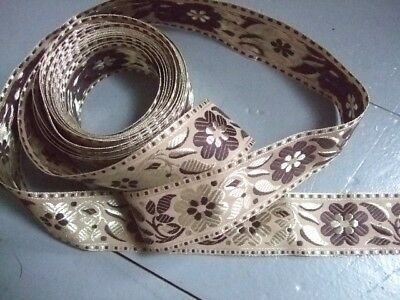Embroidered Braid - Antique Style Gold / Brown -  Over 5 Metres