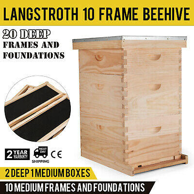 Complete Beekeeping 10 Frame Beehive Box Kit 10 medium / 20 Deep Langstroth Hive