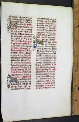 Medieval Illuminated Manuscript Leaf on fine Vellum,Deco.color Gold Init.1474