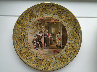 """ THE TRUANT ""  9inch OAK LEAF & ACORN BORDER  PRATTWARE PLATE MINT CONDITION"