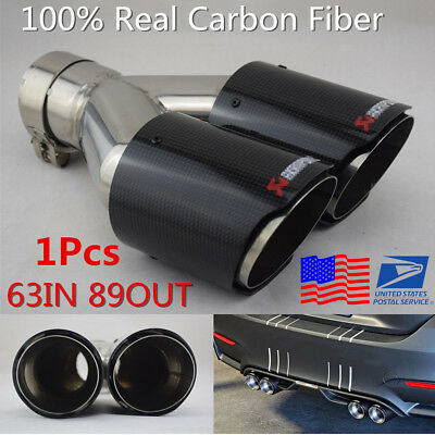 H-Right Side Glossy 63mm In 89mm Out Car SUV Dual Pipe Exhaust Tail Muffler Tip