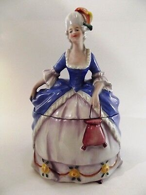 Rare Antique Dressing Table Powder Box In Figure / Lady Form Ref 208/12