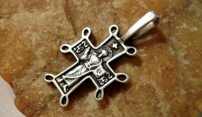 Vintage Solid Silver Byzantine Orthodox Cross Christ Lord Almighty Mother Of God