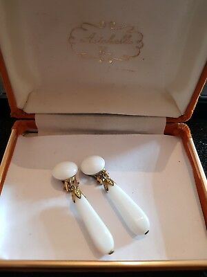Vintage Art Deco Antique White Glass Drop Clip On Earrings Small Chip