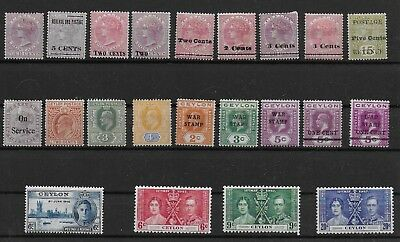 3473: Ceylon; selection of 22 MINT stamps. Victoria, Edward, George. 1883-1937