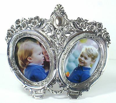 Exceptional antique double sterling silver photo frame