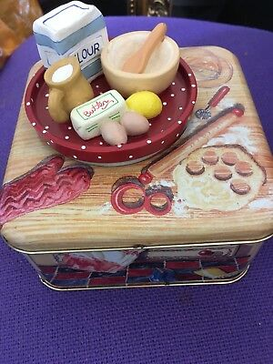 Marks And Spencer Vintage Biscuit Tin With Tea Tray On Lid