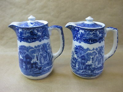George Jones 'ABBEY' ~ Pair of 1 Pint Hot Water Jugs ~ Antique Blue & White