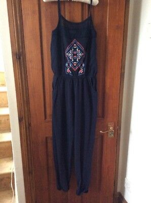 Navy Blue Aztec Playsuit Jumpsuit NEXT 11 Yrs Wirn Once