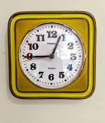 1970s Dugena Fat Lava Ceramic Wall Clock German Vintage Junghans Type Retro