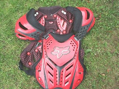 Fox Motocross Red & Black Size Medium Ce Approved Armoured Chest Protector