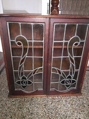 Arts And Crafts Stain Glass Leaded Cabinet