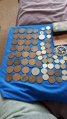 JOB LOT of coins an old tin stamps etc
