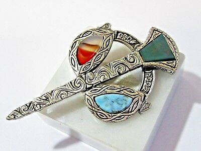 Scottish Celtic Etched Large Sword Pin Gemstone Accents Agate Gemstone Vintage