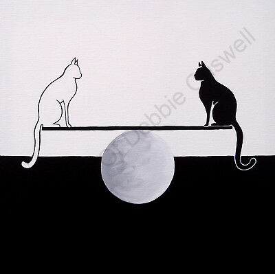 ORIGINAL Criswell painting art black white cat moon balance modern symbolism