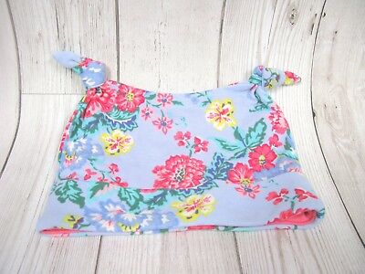 New Joules Baby Hat Girls Blue and Pink Floral Cotton 6 - 9 Months Cute Jersey