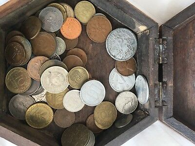 Mixed world coins with Carved Wooden Box