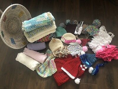 newborn baby photography props - job lot includes wraps, hats, basket, hairbands