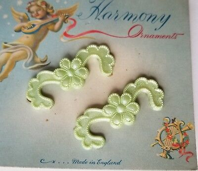Vintage Hair Barrettes - Pair of Pale Green Flower Barrettes Made in England