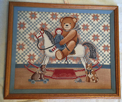 Completed Rocking Horse Cross Stitch Picture, Professionally Framed, no Glass