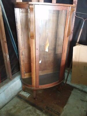 Vintage 1900 Curved Glass Bowfront China Cabinet----Glass, Only