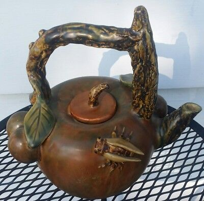 Rare Vintage Japanese Pottery Teapot stamped Plums Roach Branch