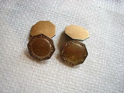 Vintage Antique 2 Sided Gold Color Octagon Cuff Links P.S. Co.