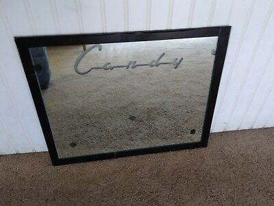 Vintage Mirror from Candy Vending Machine As Found Old Glue Bleading Taped Sign