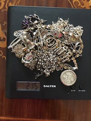JOB LOT OF STERLING SILVER 925 JEWELLERY MODERN AND VINTAGE 215g