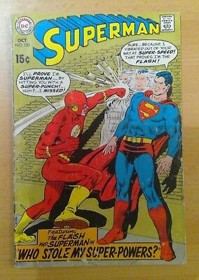 DC Superman comic - No. 220 - October 1969 - features The Flash - vg+ condition