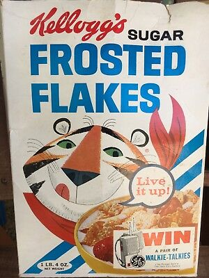 Old Vintage 1965 Kellogg's Frosted Flakes Cereal Box Tony Tiger-Live It Up!