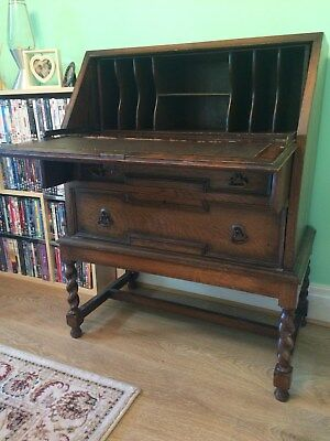 Writing desk or bureau, oak, vintage, compact.