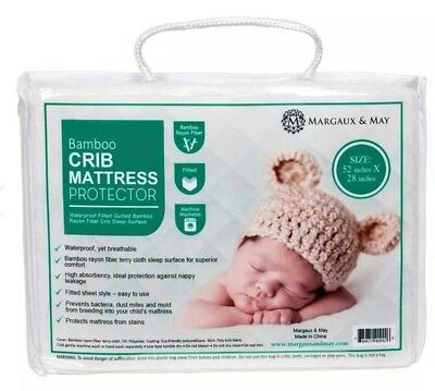 Margaux & May Bamboo Crib Mattress Protector Fitted Waterproof Super Soft