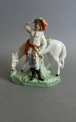 Vintage German Figure of Nobleman Hunter with His Horse