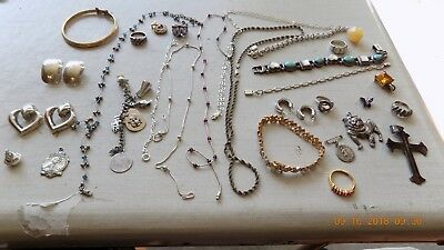 Large Lot of Sterling Silver Jewelry ALL WEARABLE VINTAGE TO MODERN LOT 1 240 GR