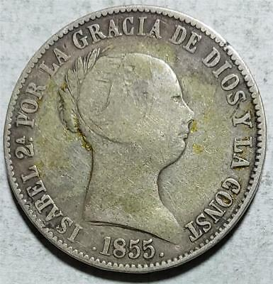 Spain, 10 Reales, 1855, Very Good, 8-Pointed Star, .3804 Ounce Silver