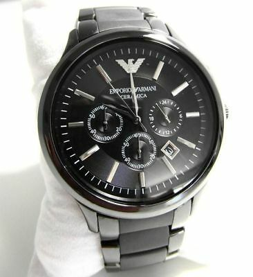 New Emporio Armani Ar1451 Ceramica Black Dial Mens Chronograph Watch Uk