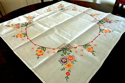 Vintage Hand Embroidered Tablecloth : Circle Of Orange, Purple & Yellow Flowers