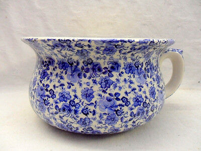 large chamber pot or planter in ditsy blue rose chintz design