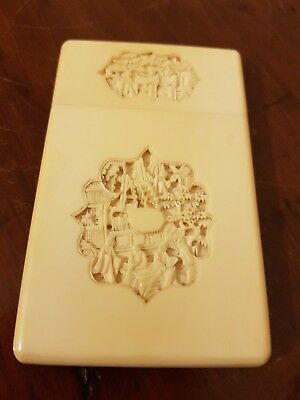 Antique 19th C Chinese Bovine Bone Card Case finely carved cartouches
