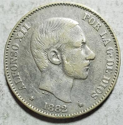 Philippines, 50 Centimos, 1882, Very Fine, .3484 Ounce Silver
