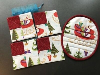 set of 4 Christmas coasters and 1 potholder-handmade, comes in organza gift bag