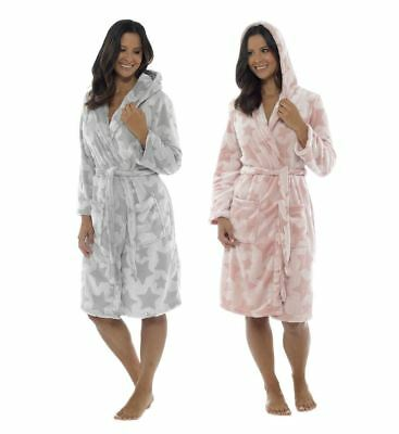 Womens Luxury Foxbury Fleece Embossed Star Dressing Gown Wrap Robe with Hood