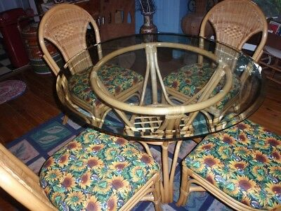 Vintage Rattan Bamboo Wicker Dining Table and 4 Chairs EUC!