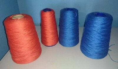 1150g Mercerised Weaving Cotton 3x 2/16 coal and royal knitting crochet