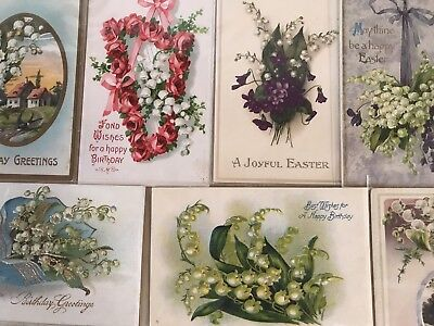 Nice Lot of 7 Vintage Greetings Postcards with Lily of the Valley Flowers-h105