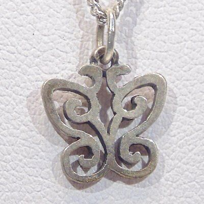 Vintage retired signed James Avery small spring butterfly charm pendant, chain