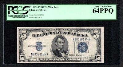 $5 1934C Silver Certificate NA Block PCGS Very Choice New 64PPQ